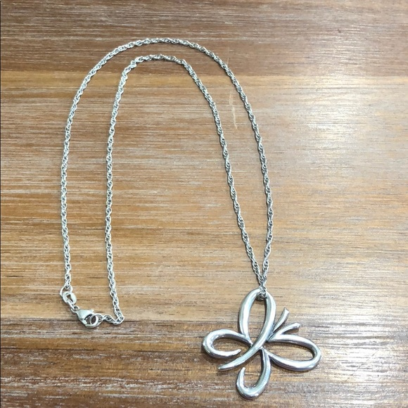 Sterling Silver Floating Butterfly Necklace